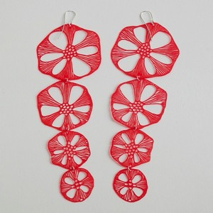 Long red earrings by Alena Willroth