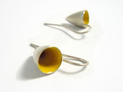 Ohrhänger silber gelb emailliert