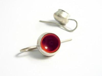 Ohrhänger silber rot emailliert