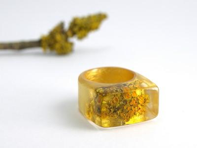 Ring Flechte mit Blattgold