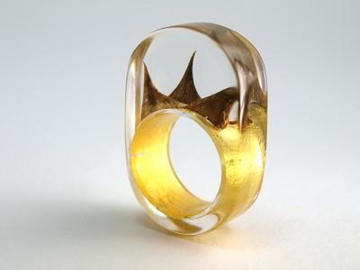 Ring Rosendornen mit Blattgold