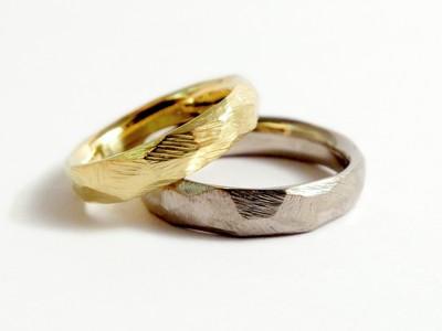 Eheringe - Facetten Gelb und Weßgold 1