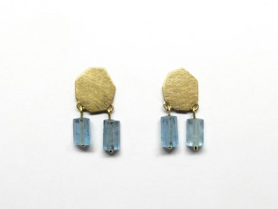 Ohrstecker - Goldplätchen mit Aquamarinzylindern 4