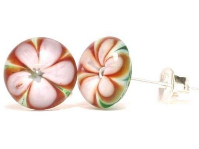 Konstance floral glass ear studs Thor Karlsen glass (2)